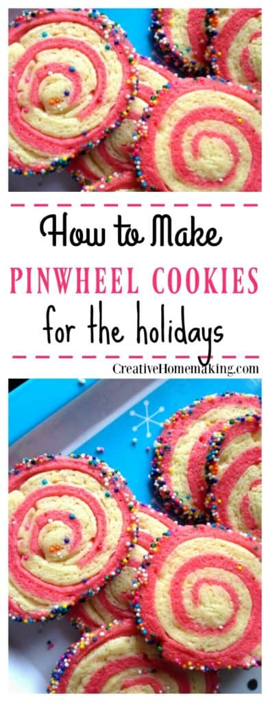 These pinwheel cookies are fun to make for Christmas or any time of year. Just change the color to match your party theme.