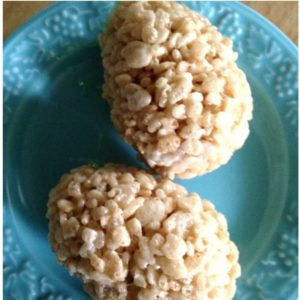 These Rice Krispie eggs have a special treat inside...jelly beans!