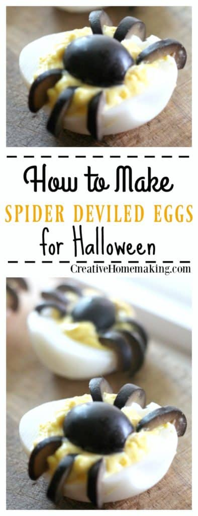 These spider deviled eggs are really easy and fun to make for Halloween.