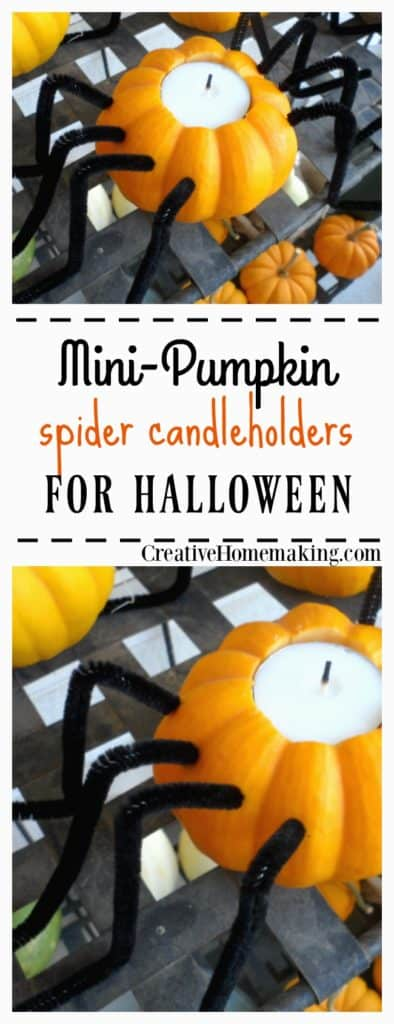 These spider candle holders made from mini pumpkins are a cute DIY decoration you can make for Halloween.