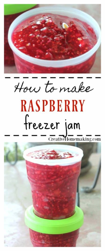 Easy raspberry freezer jam.