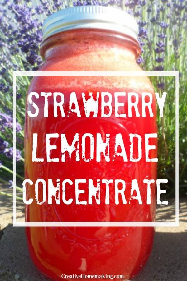 quart jar of strawberry lemonade concentrate
