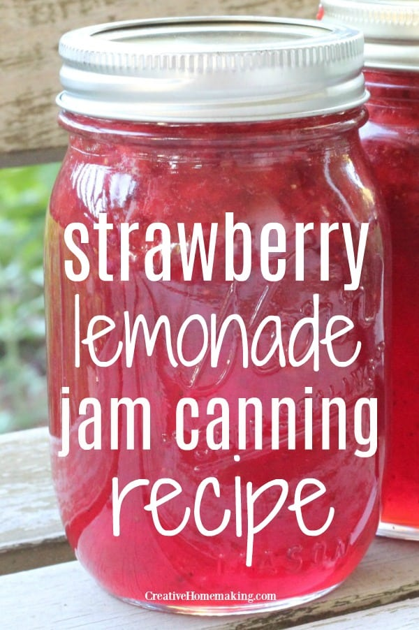 Pint jar of strawberry lemonade jam.