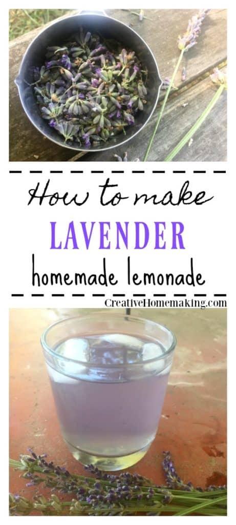 Easy recipe for making homemade lavender lemonade from fresh lavender flowers.