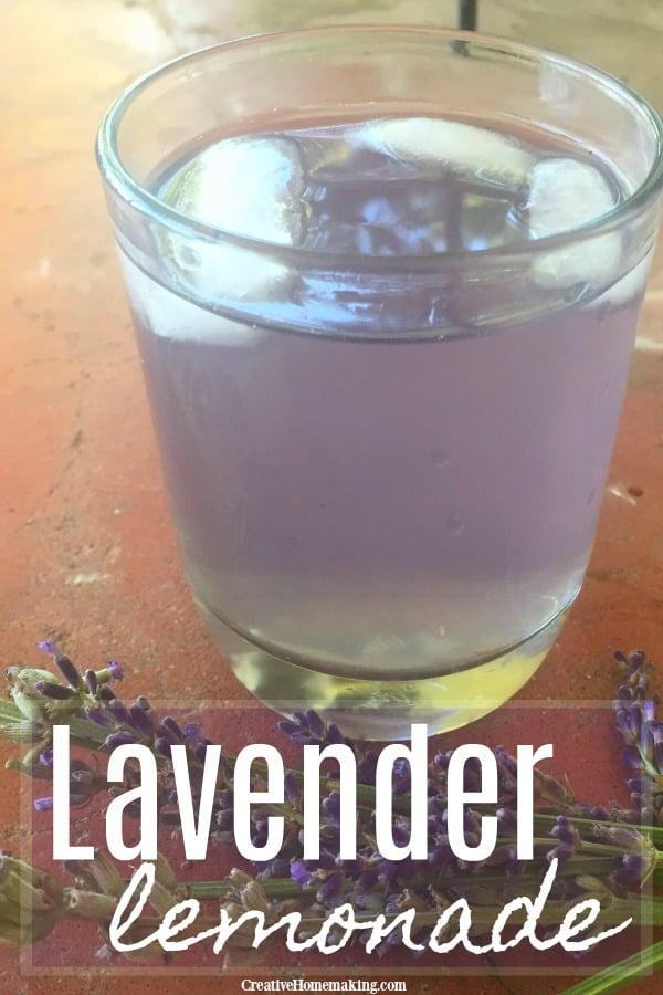 Inviting glass of lavender lemonade made from fresh lavender flowers.