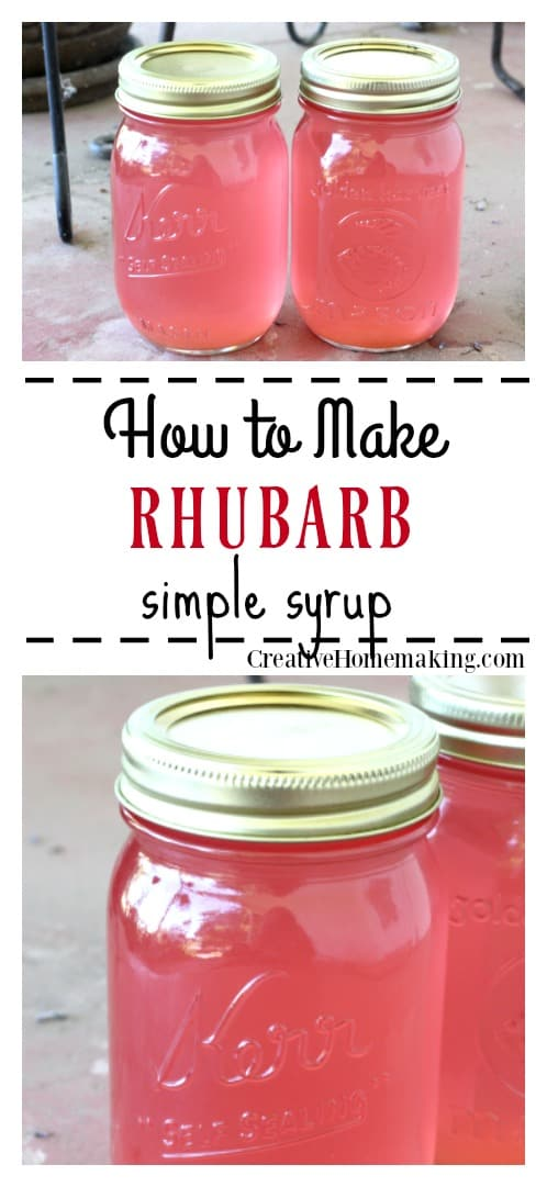 Easy rhubarb simple syrup recipe for canning.
