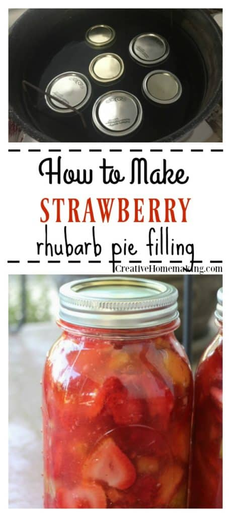 Recipe for canning strawberry rhubarb pie filling. Easy recipe for beginning canners.