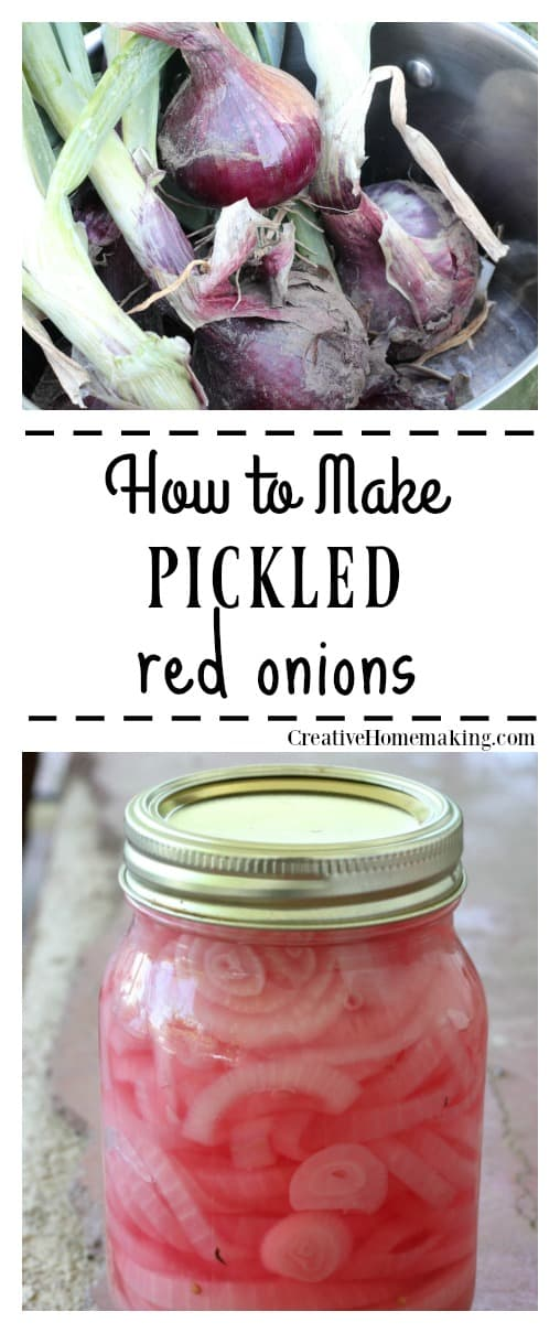 Easy recipe for canning pickled red onions to enjoy in salads an on sandwiches all year round.