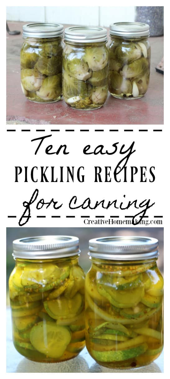 10 easy pickling recipes for canning. Recipes for refrigerator pickles, pickled beets, pickled asparagus, pickled brussel sprouts, pickled cherry tomatoes, pickled red onions, hot garlic dill pickles, and more.