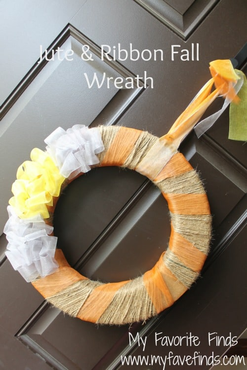 Easy jute and ribbon fall wreath to hang on the front door.