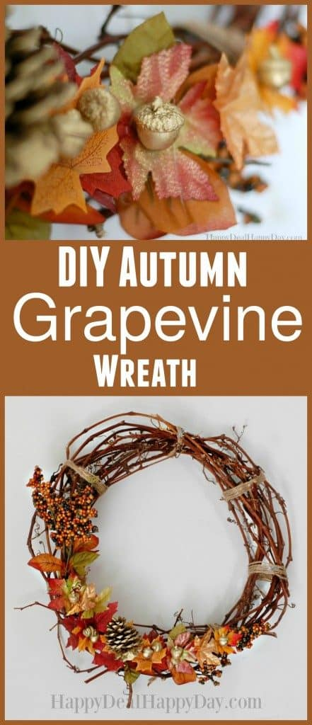 Easy DIY fall grapevine wreath to hang on your front door.