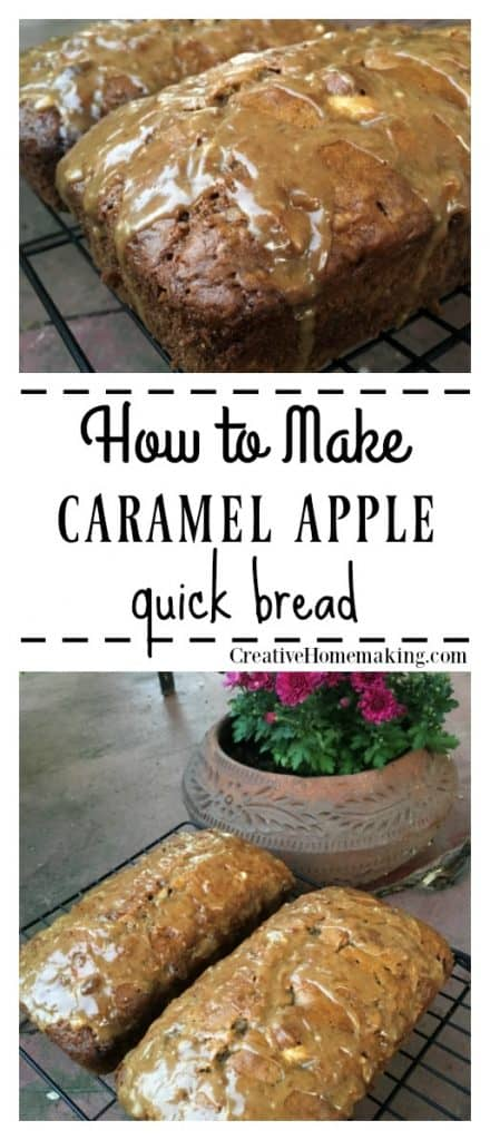 Easy recipe for homemade caramel apple bread. One of my favorite fall desserts!