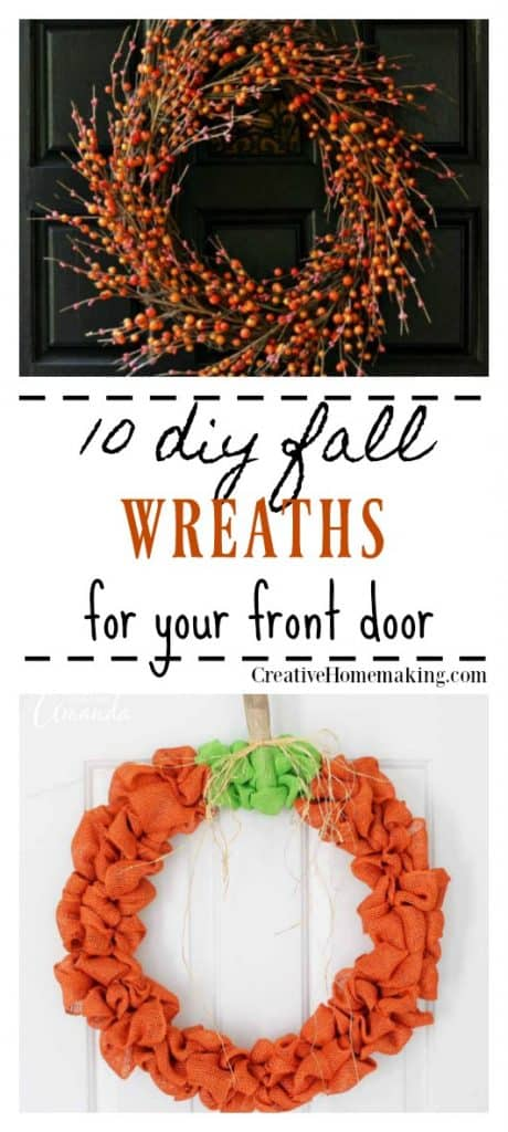 10 DIY fall wreaths to make to hang on your front door. Easy fall decor ideas for the home in 2 hours or less!