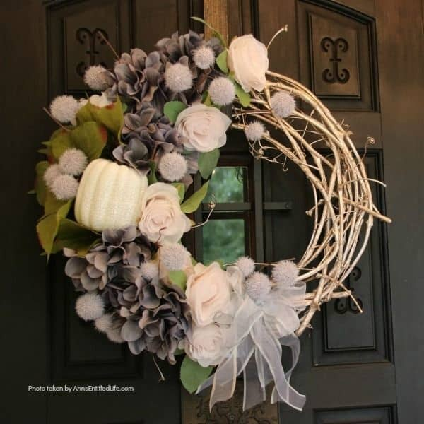 Easy DIY shabby chic fall wreath to hang on the front door.