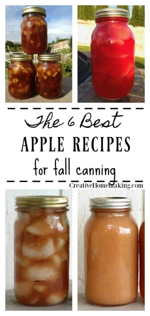 6 best apple canning recipes for fall. Applesauce, apple pie filling, apple pie jam, cinnamon apples, and more!