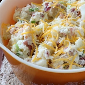 Easy recipe for loaded baked potato salad. One of my favorite potato salad recipes!