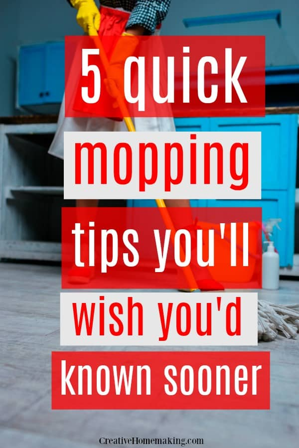 5 quick mopping hacks to make cleaning your kitchen floor easier. Some of my favorite kitchen cleaning hacks!