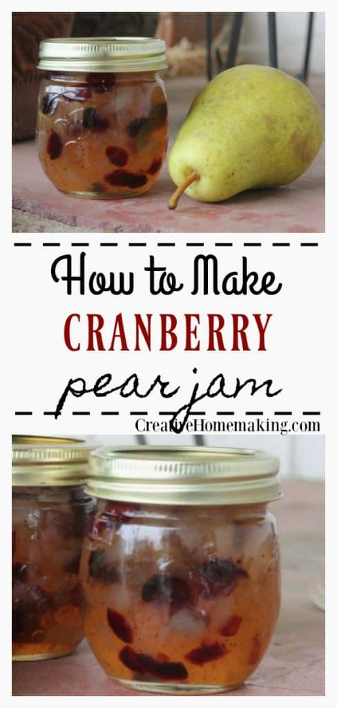 Easy recipe for canning cranberry pear jam. One of my favorite fall canning recipes!