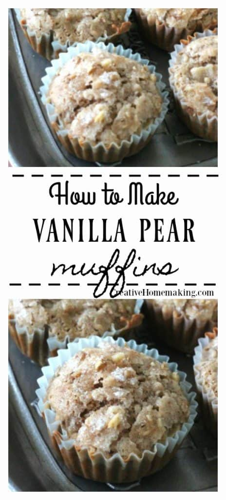 Easy recipe for vanilla pear muffins. One of my favorite fall baking recipes!