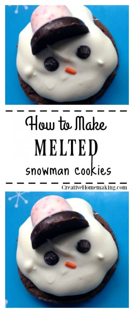Easy recipe for melted snowman cookies. One of my favorite decorated cookies for the Christmas holiday season. Fun for Christmas cookie exchanges!