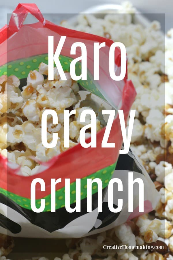Easy karo crazy crunch recipe from the 1970's. Caramel corn with pecans and almonds added. Yum!