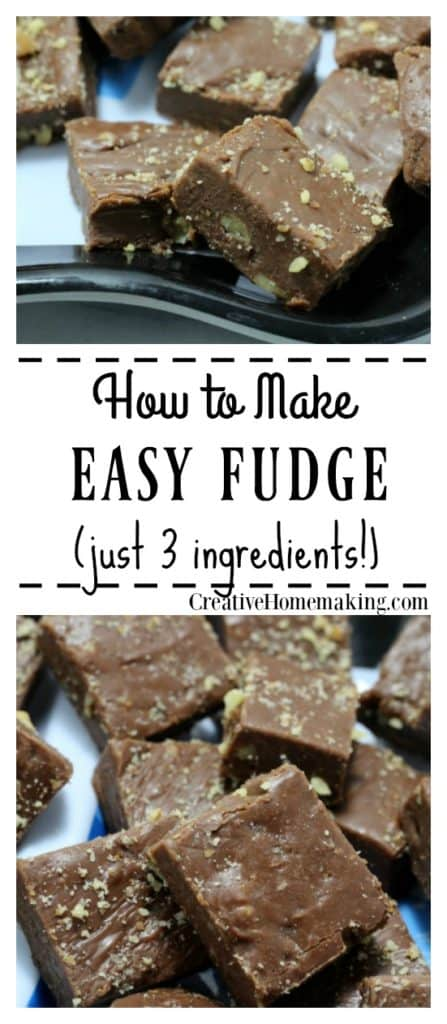 Easy three ingredient fudge recipe made with sweetened condensed milk, chocolate chips, and nuts. One of my favorite quick easy holiday desserts.