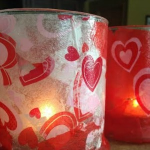 Easy, fun DIY candle holders to make for Valentine's Day. One of my favorite Valentine's Day crafts.