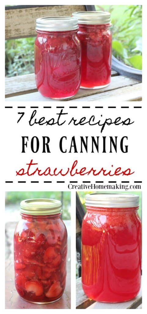 7 best recipes for canning strawberries. Strawberry rhubarb pie filling, strawberry lemonade jam, strawberry lemonade concentrate, and more!