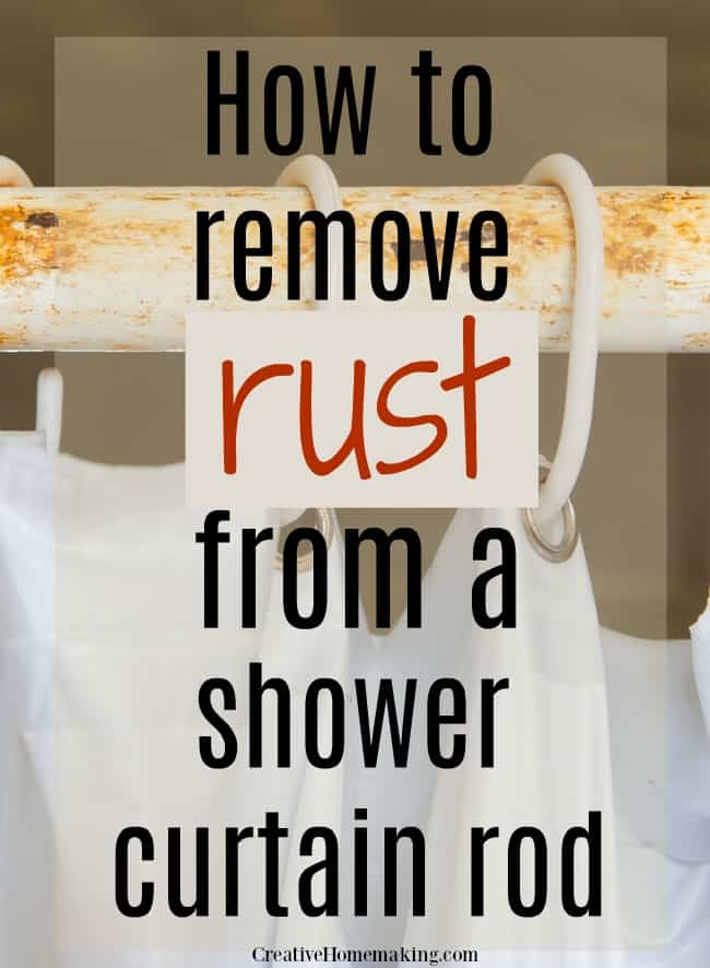 Easy cleaning hack for removing rust from a shower rod. One of my favorite bathroom cleaning tips!