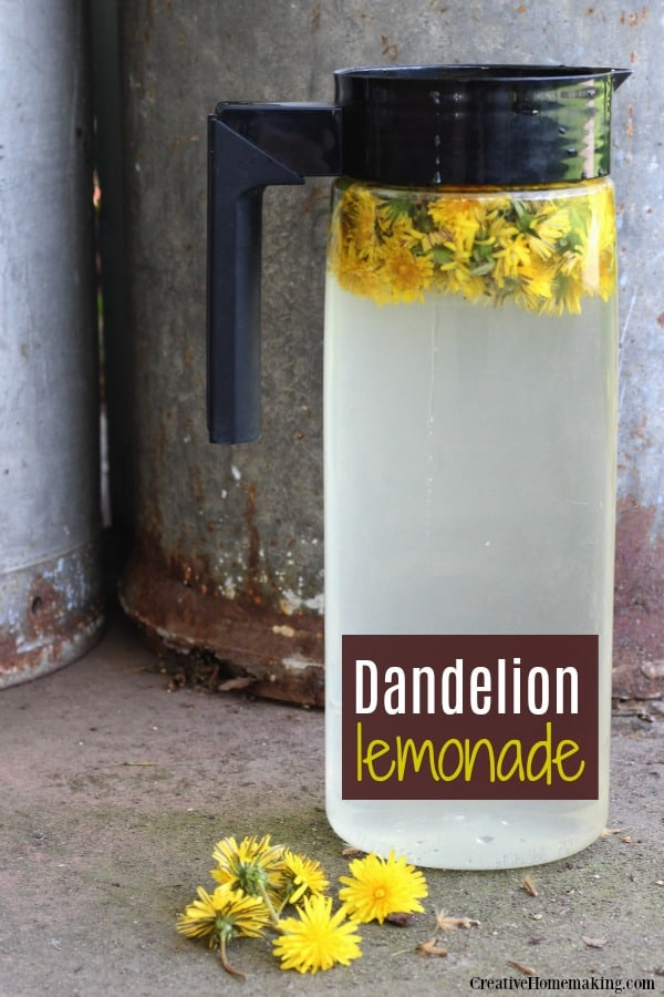 Pitcher of dandelion lemonade