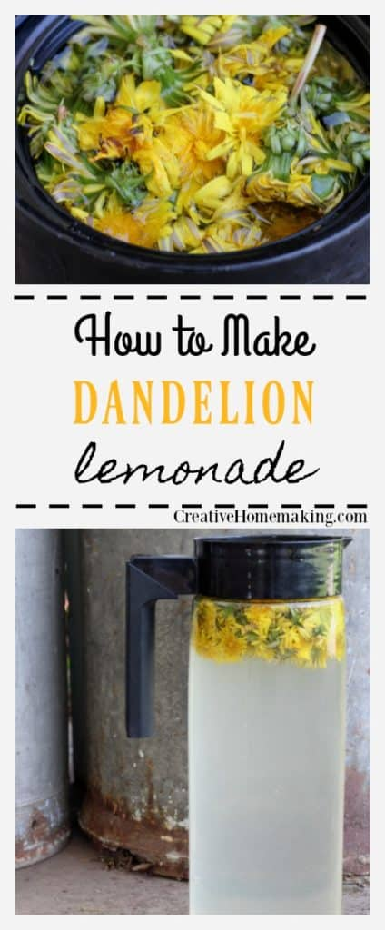 Tall pitcher of dandelion lemonade