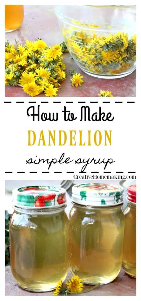 Bowl of fresh picked dandelions and two jars of dandelion syrup.