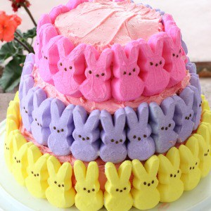 Three layer peeps cake for Easter.