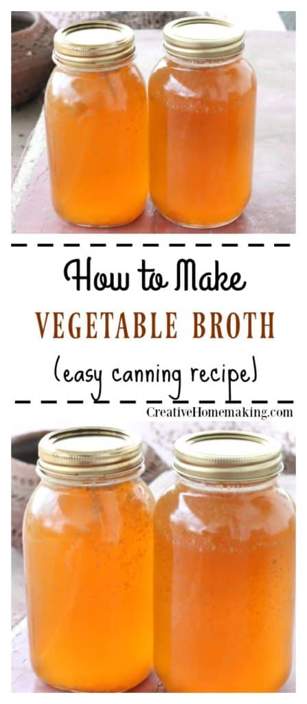 Two quart jars of homemade vegetable broth