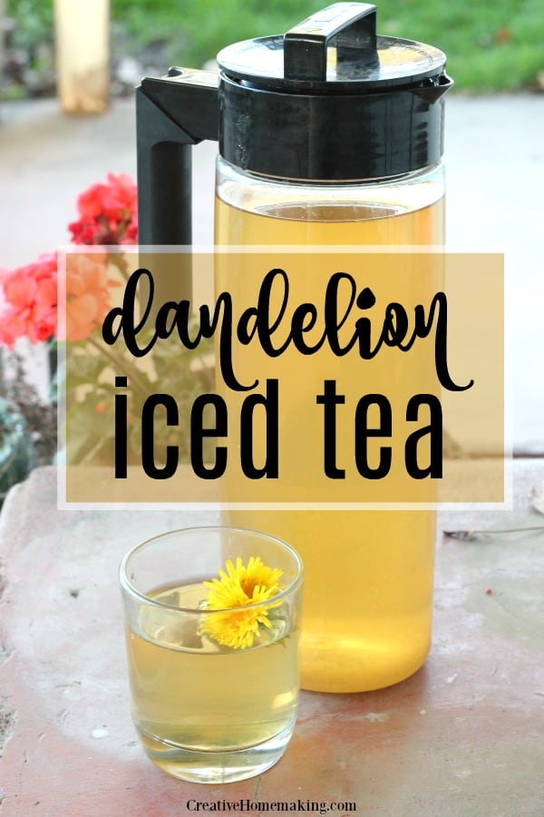 Pitcher of dandelion iced tea sitting on the front porch