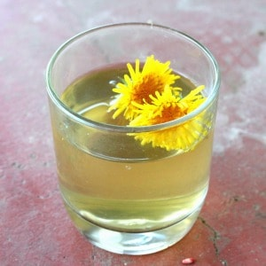 Glass of dandelion iced tea garnished with fresh dandelion flowers