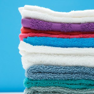 A stack of colorful bath towels