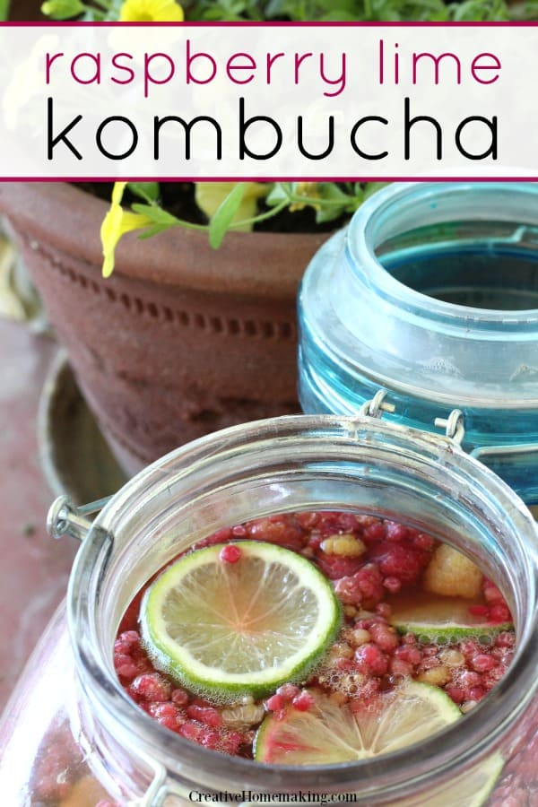 Easy raspberry lime kombucha recipe.