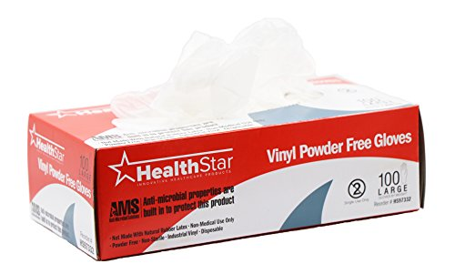Healthstar Anti-microbial Vinyl Gloves Medium, Disposable, Powder-Free, Food-Safe, Industrial Quality, Comfortable (Box of 100)