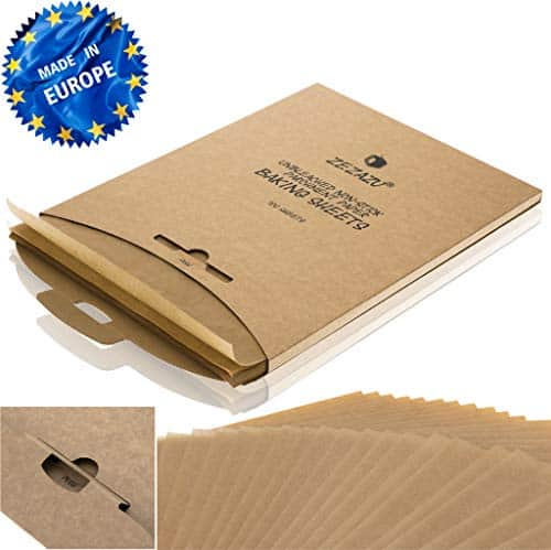 ZeZaZu Parchment Paper Sheets for Baking - MADE IN EUROPE - Precut 12x16 inch (100 Sheets) -RECLOSABLE PACK- Exact Fit for Half-Sheet Baking Pans, Unbleached, Non-stick, Dual-Sided Siliconized Coating