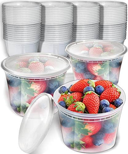 50pk 16oz Small Plastic Containers with Lids - Freezer Containers Deli Containers with Lids - Plastic Food Storage Containers with lids Plastic Food Containers with Lids Plastic Container
