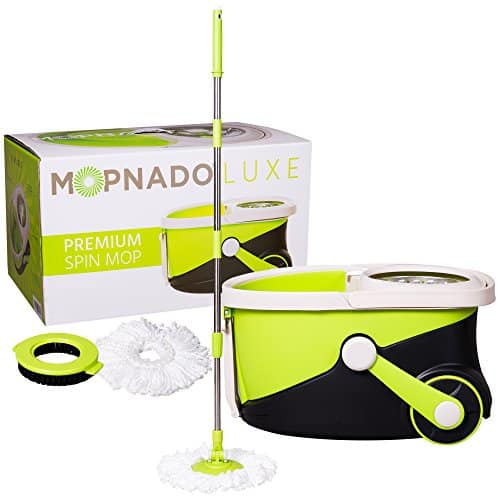 Mopnado - Deluxe Stainless Steel Rolling Spin Mop with 2 Microfiber Mop Heads - Lime