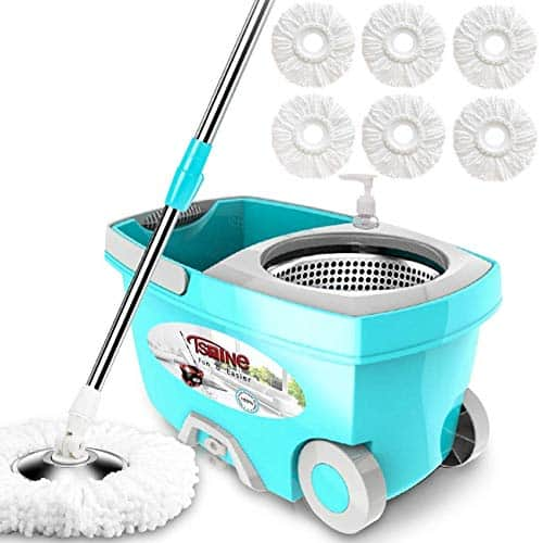 Tsmine Spin Mop Bucket System Stainless Steel Deluxe 360 Spinning Mop Bucket Floor Cleaning System with 6 Microfiber Replacement Head Refills,61