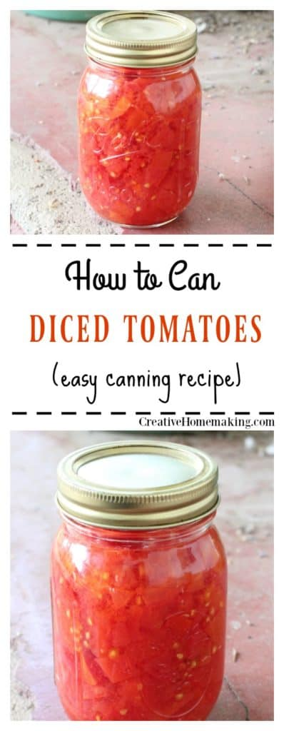 Easy recipe for canning diced tomatoes in a water bath. One of my favorite recipes for canning tomatoes!
