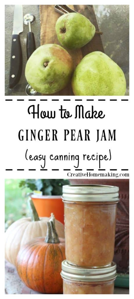 Easy recipe for canning ginger pear jam. One of my favorite easy homemade jam recipes!