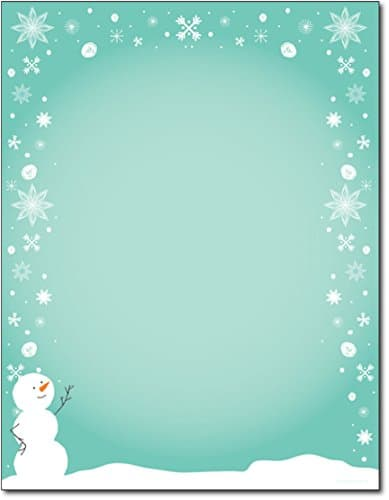 Christmas Stationery Silly Snowman with Snowflakes Holiday Laser and Inkjet Printer Invitation Paper