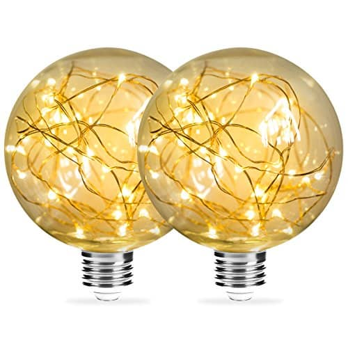 DORESshop Globe Decorative Bulb Fairy Christmas Lights, 25W Equivalent, E26 Base Edison with Starry Filament String Lights for Celebration, Party, Front Porch Light for Christmas, 2 pack (Warm White)