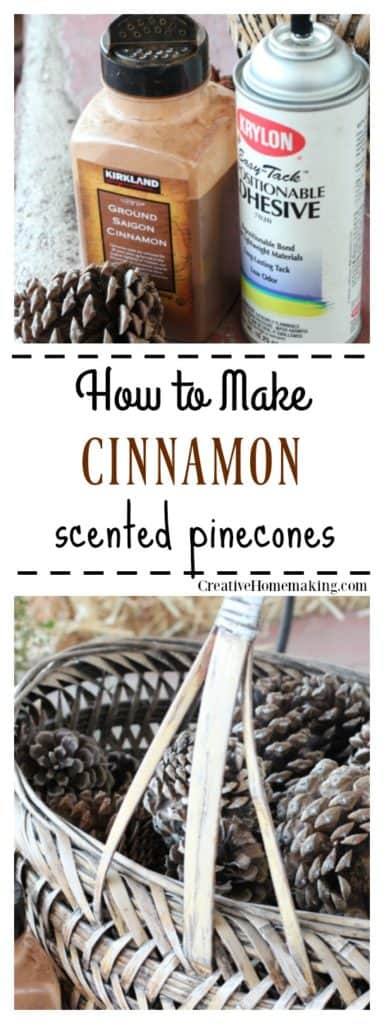 Easy DIY cinnamon scented pine cones craft. Find out two different ways to make them, and how to revive old cinnamon scented pinecones for next year.