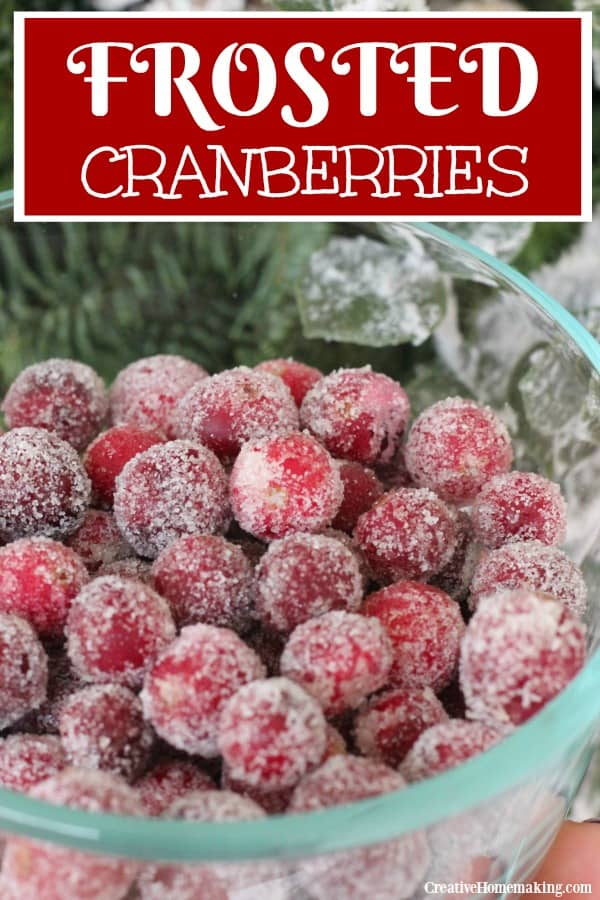 Easy frosted cranberries recipe to make for Christmas. These sugared cranberries are a tasty holiday treat. Use them to decorate your holiday table!