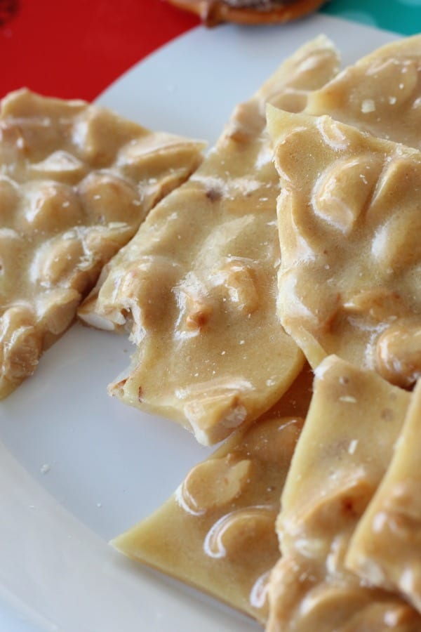 The best easy microwave peanut brittle recipe to make for Christmas or any time!